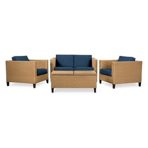 fullerton 4 pc wicker patio furniture set linen