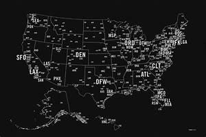Us Primary Airport Code Map Screen Print  U2013 Nomo Design