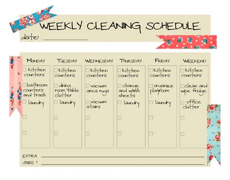 weekly cleaning schedule template daily cleaning schedule template schedule template free