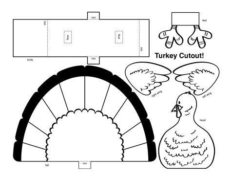 4 best images of thanksgiving turkey cutouts printable printable turkey cut out 3d printable