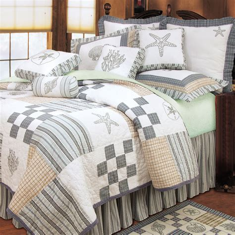 grey and white starfish bedding set with pillows added by