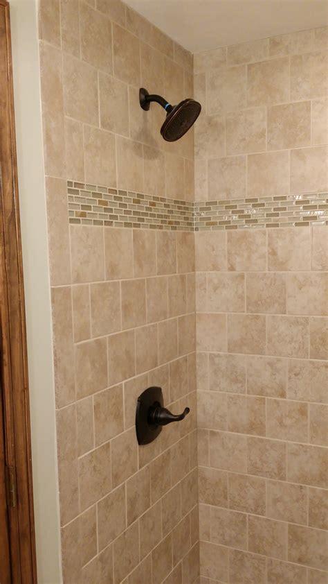 custom tile stand up shower milback construction