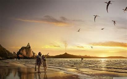 Beach Couple Romantic Wallpapers Sunset Desktop Backgrounds