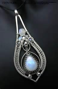 Blue moonstone pendant - teardrop shaped wire wrapped ...