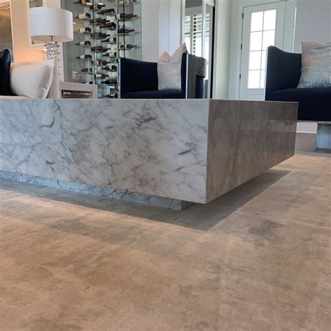 Note that it marks very easily. Restoration Hardware Marble Plinth Coffee Table | Chairish