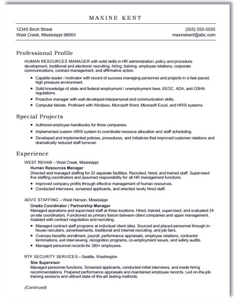 Resume Format Word by Sle Resume Maxine Kent Ms Word Scannable Format