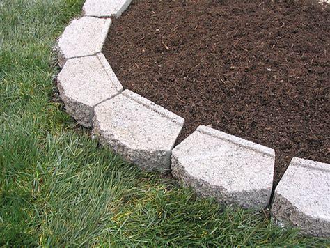 garden border blocks edging flower bed with concrete blocks