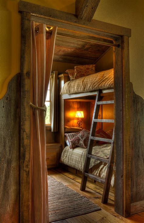 Small Rustic Style Kids Room With Bunk Bed