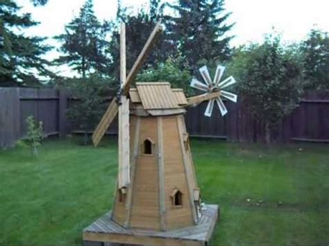 wooden homemade garden windmill  laszlo youtube