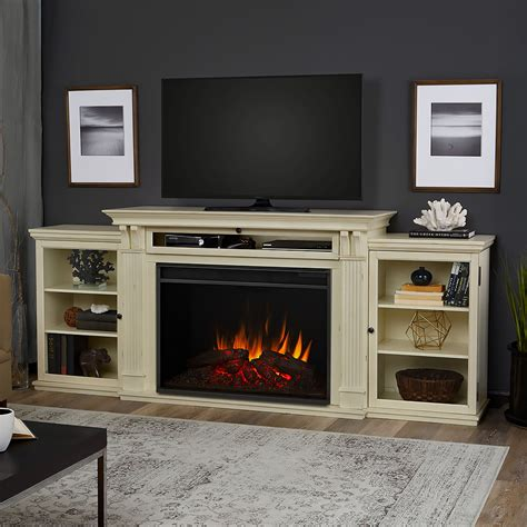 media fireplace tv stand real tracey grand infrared distressed white 7417