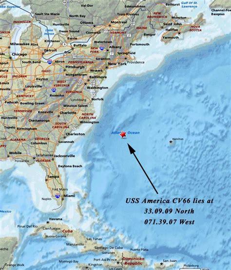 Uss America Sinking Location by Cv Uss America Cv 66