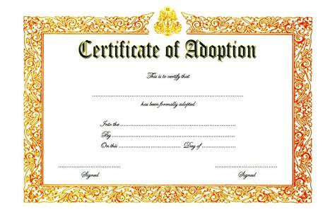 Adoption Certificate Certificate 16 Adoption Certificates Templates Resume Pdf
