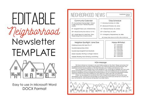 newsletter template  microsoft word neighborhood