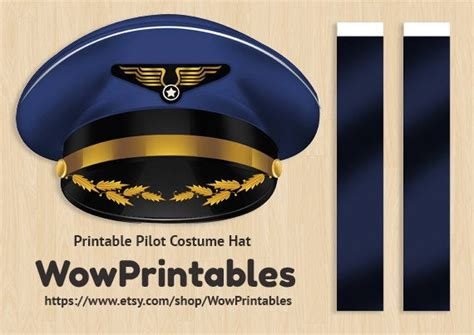 pilot costume hat printable  easy   black