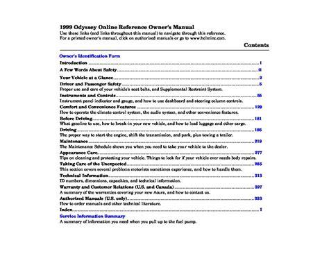 honda odyssey owners manual owners manual