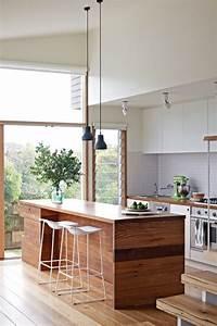 cuisine avec ilot central 43 idees inspirations With ilot central cuisine bois