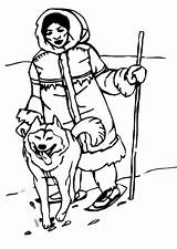 Eskimo Coloring Inuit Eskimos Pages Clipart Printable Template Coloriage sketch template