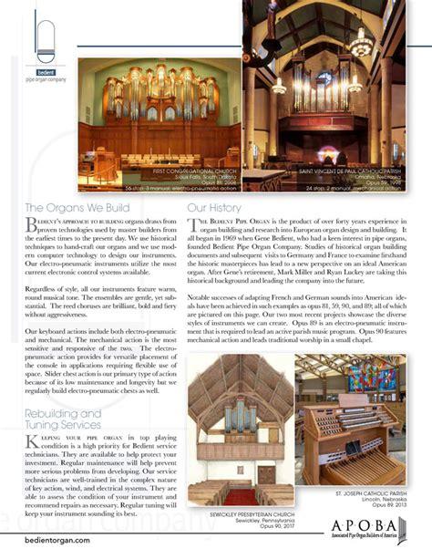 Bedient Pipe Organ Co Associated Pipe Organ Builders Of