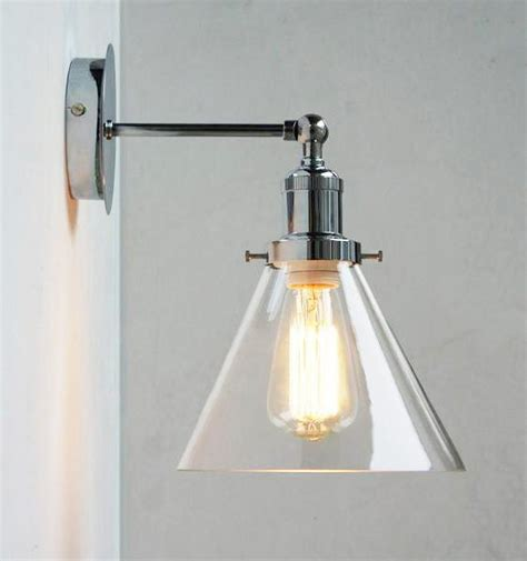 chrome wall light with glass cone shade tudo co tudo