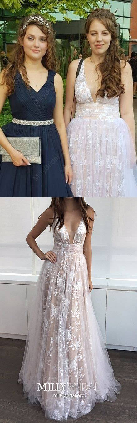 $185.99 A-line V-neck Lace Tulle Floor-length Prom Dresses ...