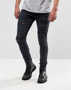 ASOS | ASOS Super Skinny Jeans With Extreme Rips at ASOS