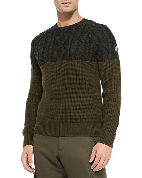 Crewneck Knit Top moncler crewneck sweater with cable knit top