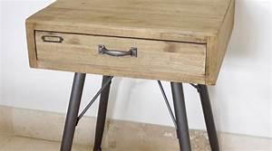Table De Chevet Metal : table de chevet bois et metal design en image ~ Melissatoandfro.com Idées de Décoration
