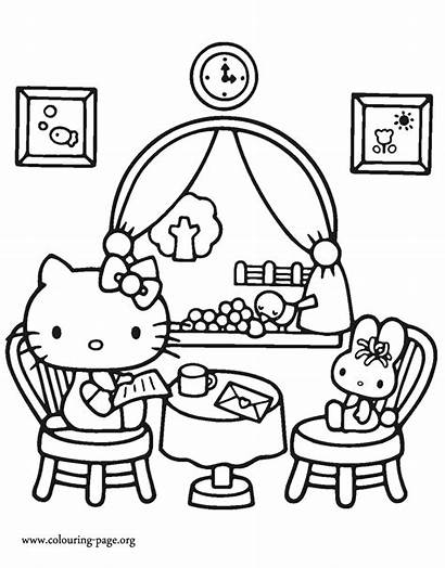 Coloring Kitty Hello Colouring Restaurant Pages Printable