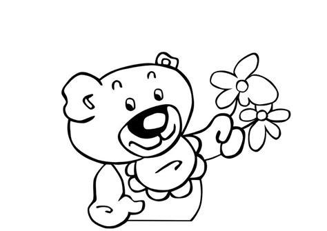 malvorlage teddybar mit blumen ausmalbild  images