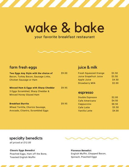 customize  breakfast menu templates  canva