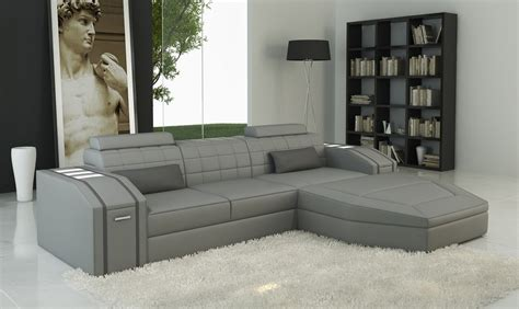 Gray Contemporary Sofa by Divani Casa 5038b Modern Grey Bonded Leather Sectional Sofa