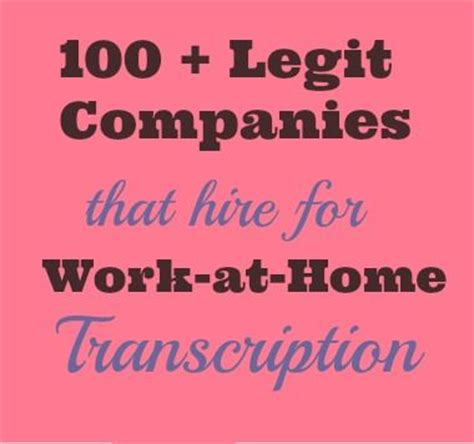 legit transcription over 100 work from home transcription companies home still work from home jobs and at the top