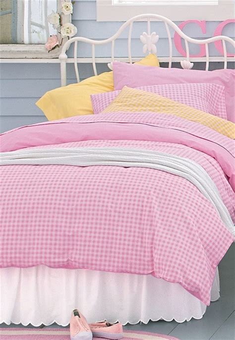 pink reversible gingham bedding collection