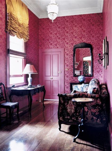 deep pink  floral interiors  color