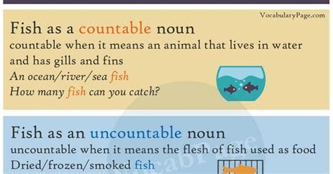 vocabularypage  fish countable  uncountable