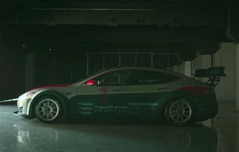 tesla model  racing car revealed  electric gt