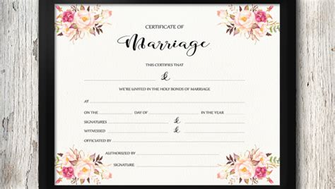 wedding certificate templates  sample