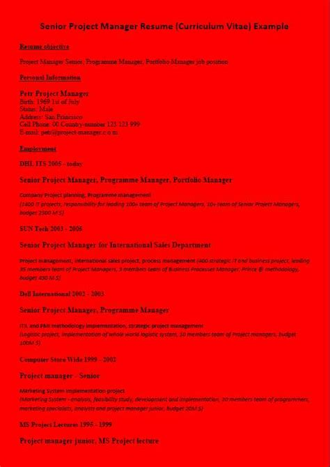 resume cv exle project manager background color