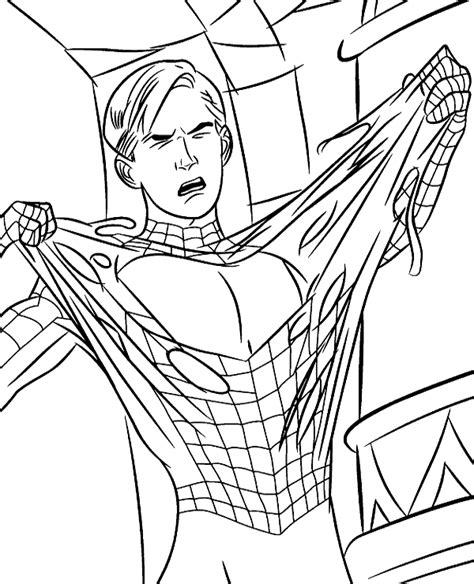 high quality spiderman peter parker coloring page  print