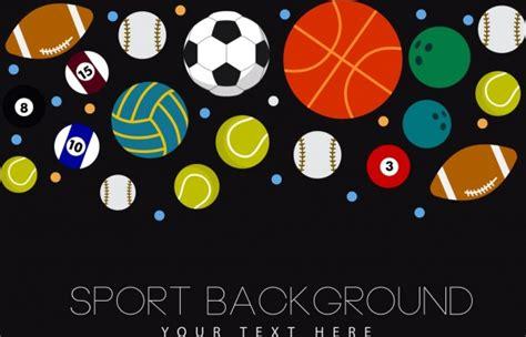 olahraga latar belakang berbagai bola ikon dekorasi vektor