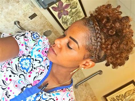 Natural Hair High Puff With French Braid [video