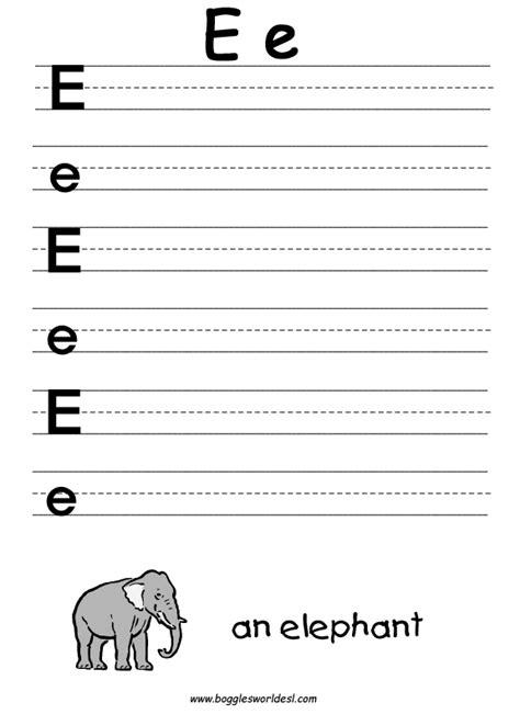 letter e alphabet worksheets