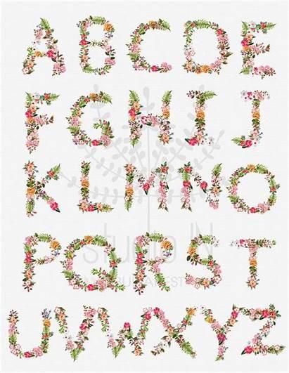 Floral Clipart Letters Alphabet Flower Letter Scrapbook