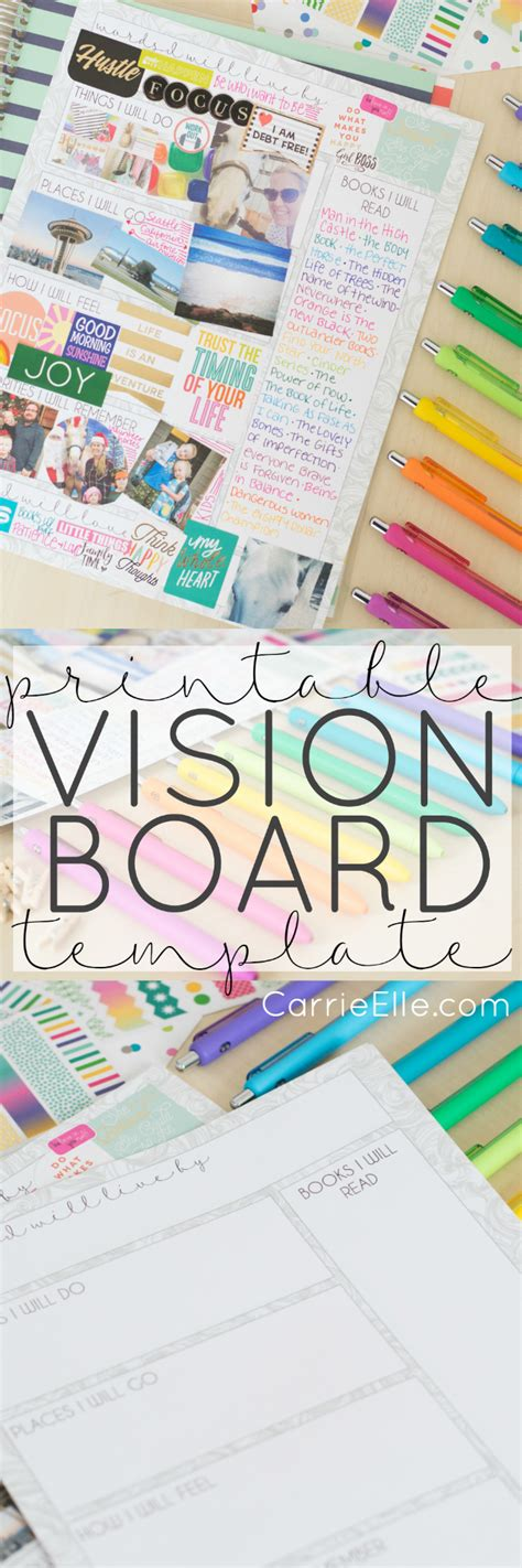 Vision Board Template Printable Vision Board Template Carrie