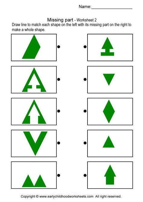 missing parts  images worksheets shapes worksheet