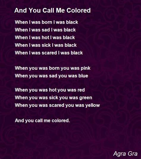 call color and you call me colored poem by agra gra poem