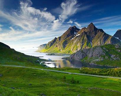 Desktop Landscape Mountain Lake Grass Sky Clouds