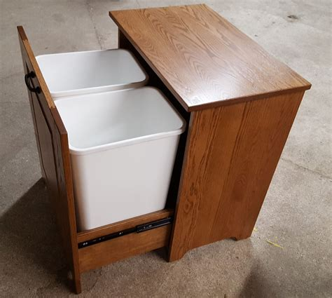 double trash recycling bin cabinet wood four seasons furnishings amish made furniture amish made