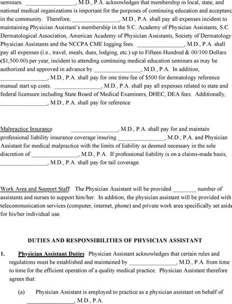 Physician Assistant Employment Agreement Terms Of Agreement Physician Assistant Employment