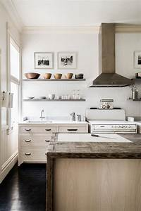 Floating, Shelves, Natural, Wood, Island, And, White, Subway, Tile, Backsplash, Wall, In, Country, Kitchen